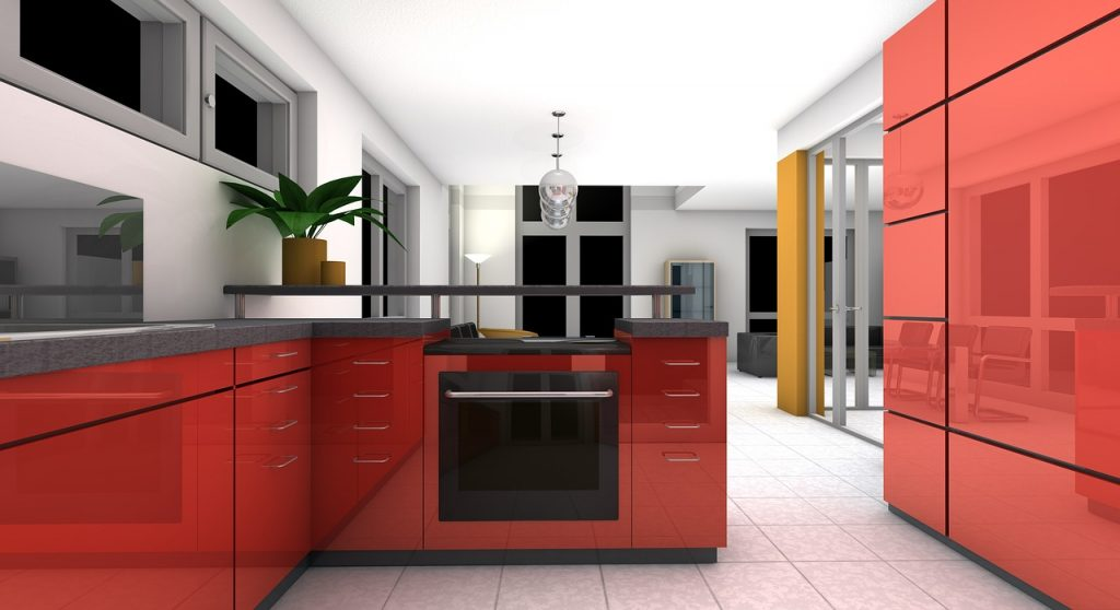 kitchen, dining room, rendering
